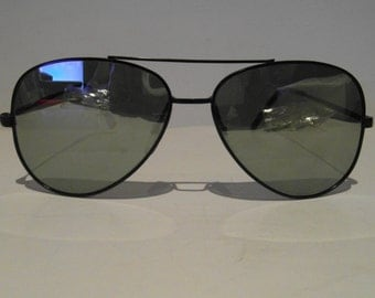 Vintage Black Silver Mirrored Lenses Aviator Sunglasses