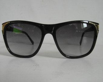 Vintage Shiny Black & Gold Square-Frame Sunglasses
