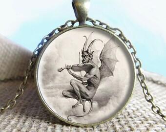 Louis-Leopold Boilly Devil Pendant/Necklace Jewelry, Fine Art Necklace Jewelry, Image Pendant, Glass Pendant, Gift