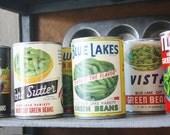 Set of 10 Real Vintage Vegetable Can Labels NOS