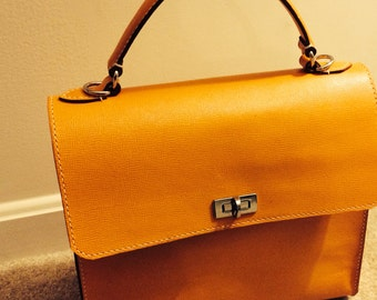 Mango -- hand stitched leather bag / handmade briefcase