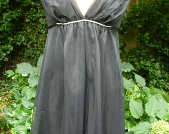 Mod Negligee Black Nylon Grecian Style Nightie Mini Dress Rhinestone Spaghetti Straps Size Small Made by Van Raalte 1970s