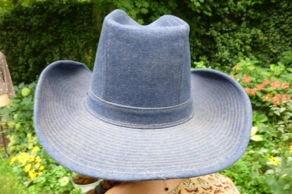 Levi Strauss Cowboy Hat Denim 10 Gallon Hat Size 7 3/8 Made in USA ... 10 Gallon Cowboy Hat Front