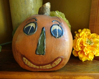 PAINTED CANVAS Pumpkin Vintage 7.5 Inches Handmade Halloween Fall Decor Wood Stem All Hallows Eve Jack o lantern Trick or Treat