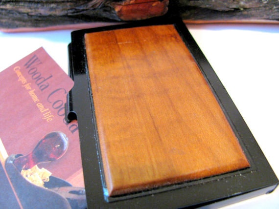Wood business card case Roasted curly maple and aluminium