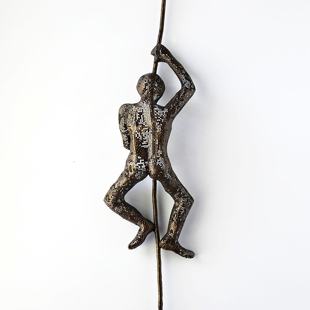 Climbing man on rope home decor metal wall art unique for Unusual decorative accessories