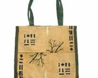 Classic fabric bag. Recycled fabric. Green and brown colors. Very lightweight. A nice gift.