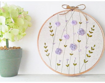Ribbon Embroidery hoop wall art - Purple Rose Garden Spring