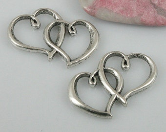 14pcs tibetan silver color linked heart charms EF0459
