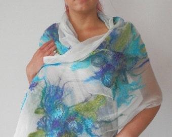 nuno felted silk scarf shawl wrap LIME art to wear, silk wool scarf, nuno felt, floral scarf, wedding scarf, eco fashion by Kantorysinska