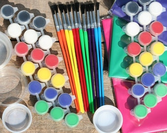 Paints Brushes Tablecover Cups For Your Alligator Party Shark Party Dinosaur Party Use With Our Natural Wood Animals Or Your Project