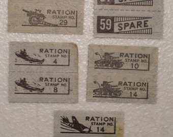 Rare 1943 US WWII War Ration Stamps, 5 Pair, 10 different stamps, Plane, Tank, Aircraft Carrier, Cannon