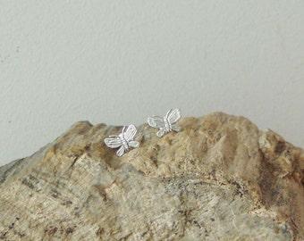 Silver butterfly earrings, solid sterling studs of butterflies, Greek handmade jewellery