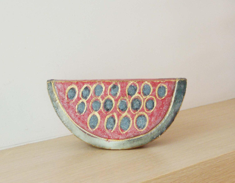 Ceramic watermelon wedge stoneware high fire by ArktosArt