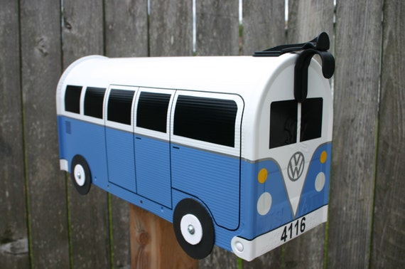 Wildflower Blue Custom Made To Order Volkswagen Bus Mailbox by TheBusBox - Choose Your Color - SplitBusBox