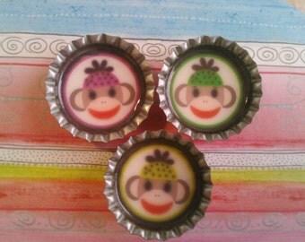 Phunky sock monkey bottlecap magnets