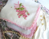 Vintage Pink Handkerchiefs: Floral Embroidery and Crochet (Be My Valentine)