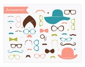 Mustaches Clipart Little Man 'Accessories II' Hats, Glasses, Moustaches INSTANT DOWNLOAD
