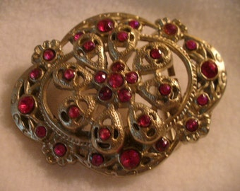 Exceptional Silver Filigree Work With Bright Pink Rhinestone Belt Buckle