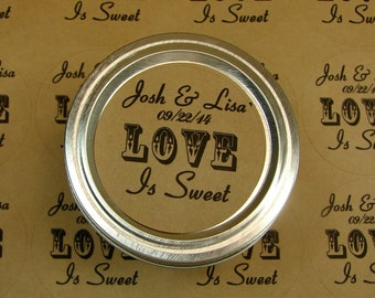 Personalized Wedding Favor Labels - 20 - 2 Inch Circles - Love is Sweet Design On Kraft Labels   L1