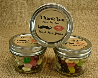 Mason Jar Wedding Favors - Personalized - 20 Four Ounce Quilted Mason Jars - Mustache and Lips New Mr and Mrs Design