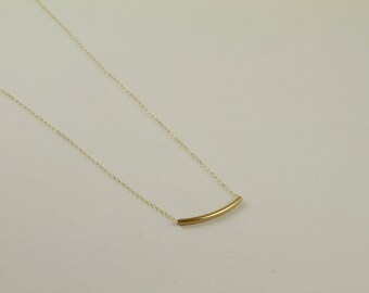 Gold Floating Bar Bracelet. Minimalist Gold Jewelry. Curved Tube Bracelet. Delicate Gold Bracelet.