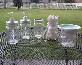 Ball Mason Jar Bathroom Set - Clear and White  - Full Bathroom Set