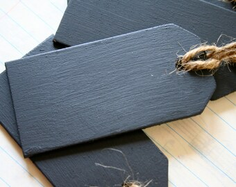 12 Chalkboard Wooden Tags, Large