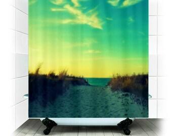 Fabric Shower Curtain  - Walk in Love - Photography, bathroom, home, decor, beach, nature, sand dune, path, beach, RDelean