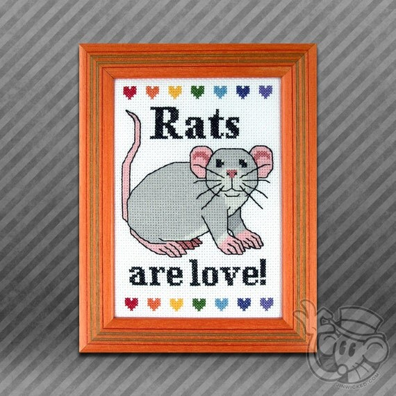 Rat Cross-Stitch Pattern: Rats are Love