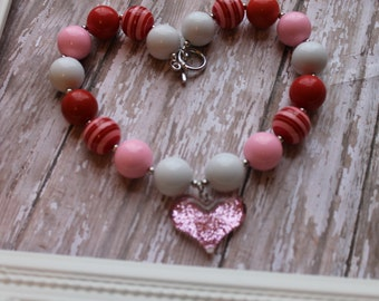 Valentine Necklace Baby Girls Chunky Valentine Necklace Valentine Heart Necklace Valentine Gumball Necklace Heart Bubble Gum Necklace