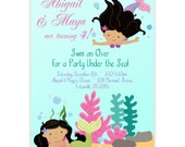 Mermaid Invitation - Adorable Turquoise Under the Sea, Twin Girl Mermaids Personalized Birthday Party Invite - a Digital Printable File