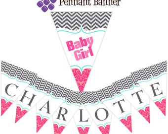 Chevron Pennant Banner - Turquoise, Gray Chevron, Pink and Coral Damask Girl Personalized Baby Shower Party Banner - Digital Printable File