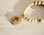 Handmade wooden Cross Chaplet , natural wooden beads Vintage look