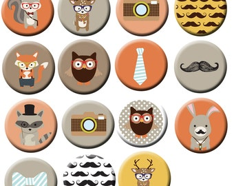 "15 Camera Fox Owl Mustache 1"" FLAT back Or PIN back buttons"