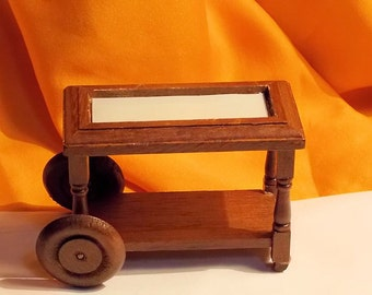 Dollhouse Tea Cart - Doll House Serving Cart - Vintage Doll House Furniture - 1/12th Scale