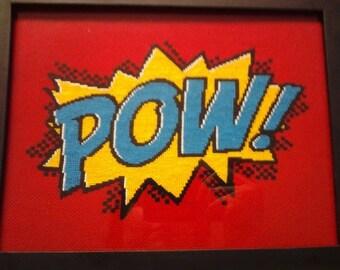 Comic POW framed cross stitch