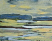 Maine Painting. Original Oil Painting of Spurwink Marsh, Cape Elizabeth. Wood Art Block #805.Kathleen Daughan. Wall Decor. Home and Living