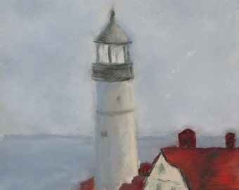 "Portland Head Lighthouse Maine Print 11"" x 14""  Original Pastel Painting Fort William Park Cape Elizabeth Hand Cut Mat"