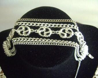 Monet Silver tone Six Chains Bracelet