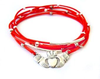 Irish Claddagh Bracelet Set, Silver and Red, Sterling Silver, Red Bracelet, Silver Jewelry, Silver Bracelet, Irish Jewelry