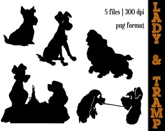 Lady and the Tramp Silhouettes // Lady and Tramp Love Silhouette // Disney Clipart // Kissing // Love // Disney Silhouette