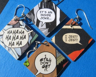 Comic Earrings - I jest! Inside Joke