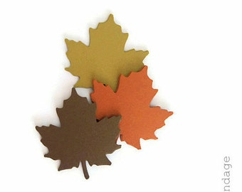 shimmery paper leaves,24 leaf die cuts, maple leaves, fall wedding, fall table decor, fall confetti, vintage wedding, fall decoration,leaves