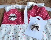 Baby girl/ toddler girl dress/ sundress with matching bow, red polka dot, ivory blue, red floral- Size 4T available, custom size available