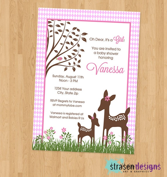 willow deer baby shower invitation diy printable by strasendesigns