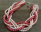 SALE Pink Pearl Necklace Statement Bridal Necklace Braided Cluster on Silver or Gold Chain