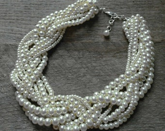 White Pearl Necklace Braided Cluster on Silver or Gold Chain