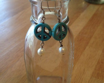 Peace Sign Sterling Silver Turquoise Pearl Earrings - EG - 04