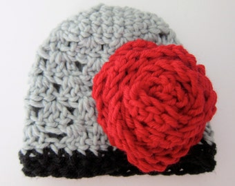 Premie crochet hat, flapper hat with rose flower, baby girl hat